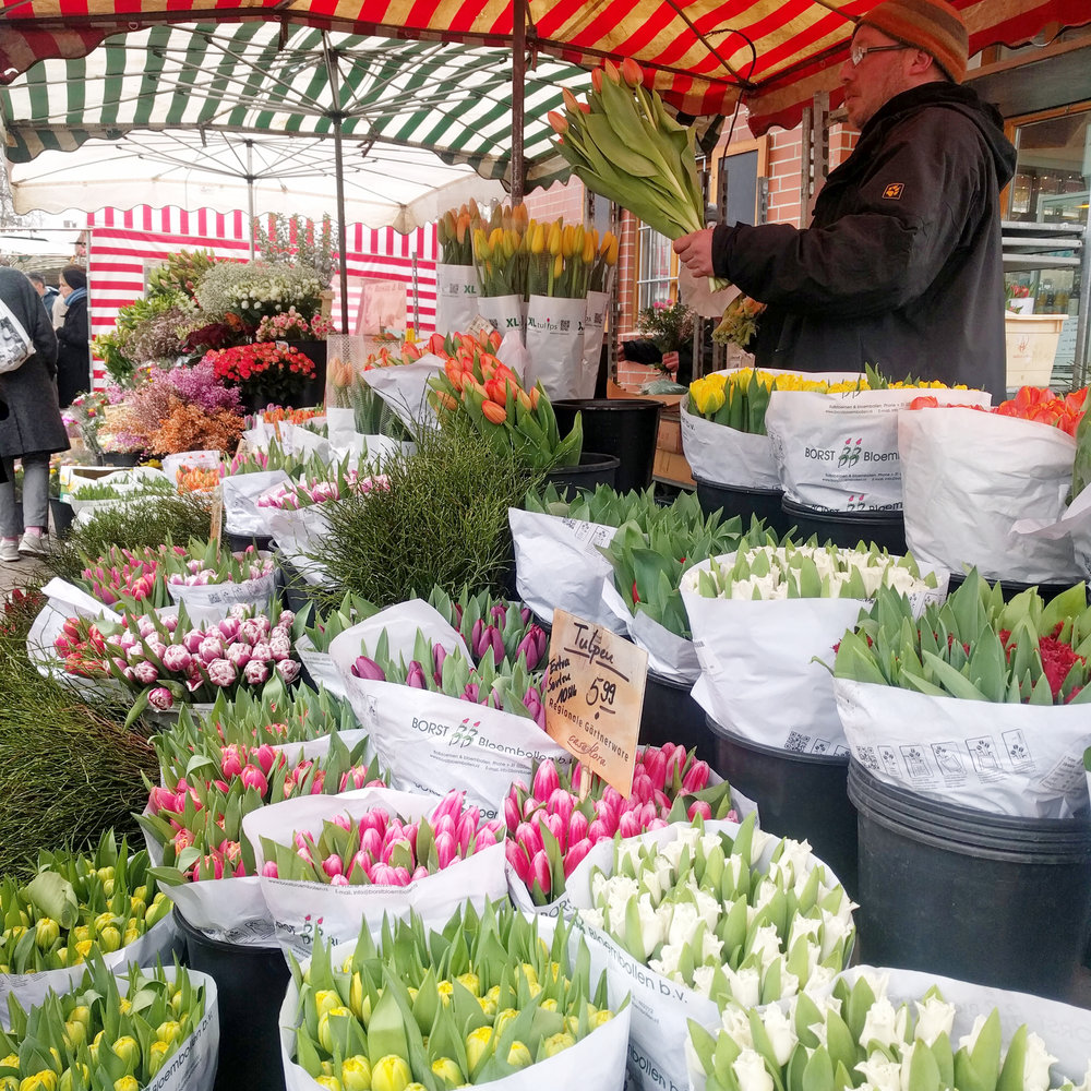 Berlin flower vendor. Prenzlauer Berg Market. One year in Berlin. Jamie House Design. Tulips at market.