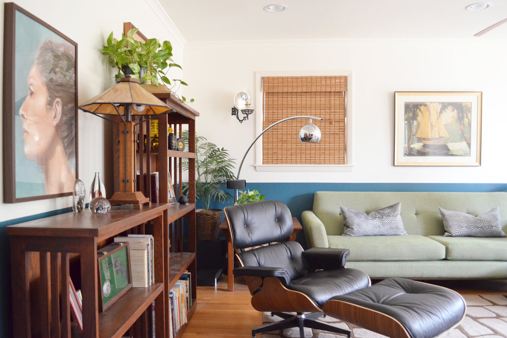 Mid-Century Modern living room in Tulsa Oklahoma. Eames lounger with Craftsman Furniture. Designed by Jamie House of Jamie House Design.