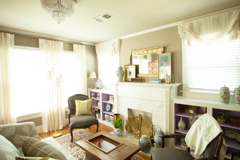 Houston Heights bungalow living room with antiques designed by Jamie House Design
