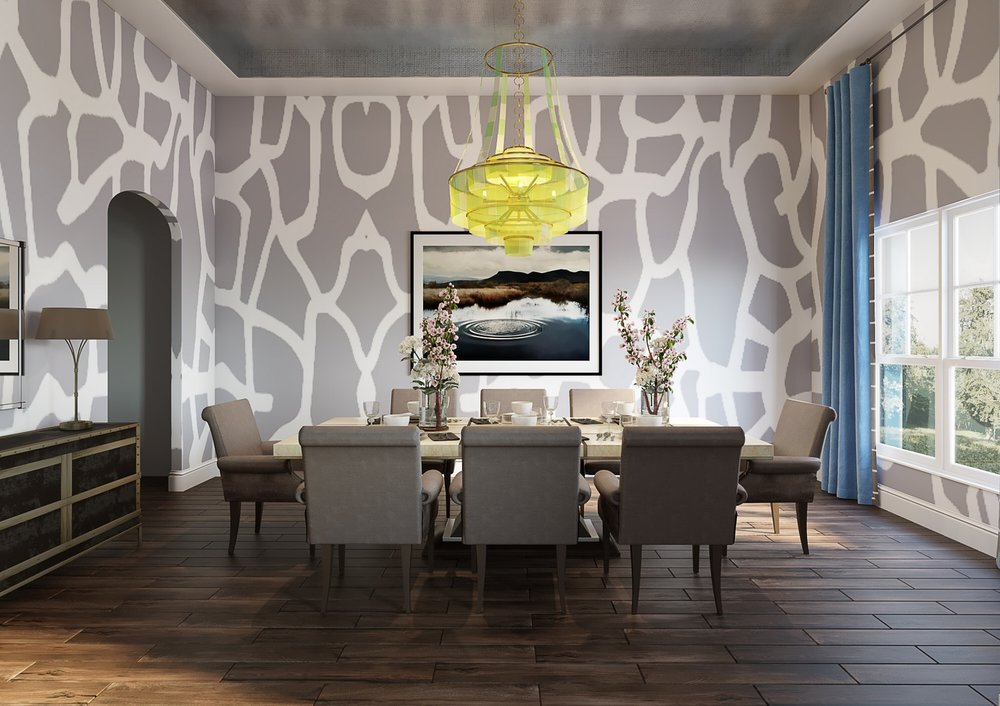 3D rendering of Dining Room design for House Delivered, Jamie House Design's EDesign service
