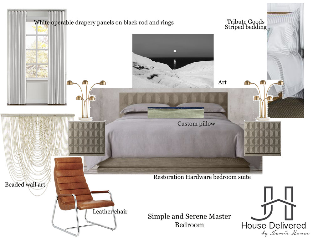 House Delivered by Jamie House Design EDesign moodboard of calming bedroom