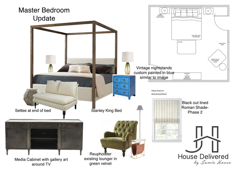 New Traditional bedroom moodboard design by House Delivered, Jamie House Design's EDesign service