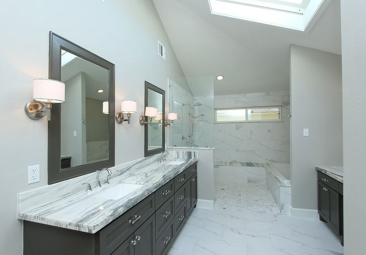 Expansive masterbath remodel in Meyerland area of Houston Texas by Jamie House Design.