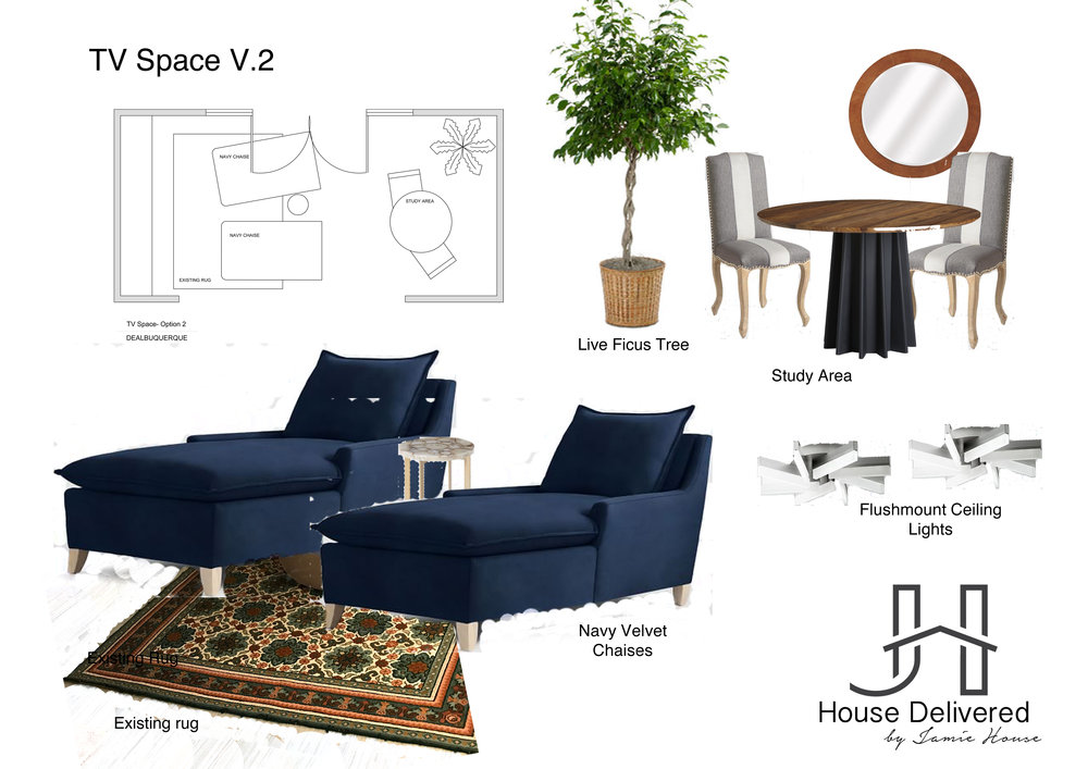 TV room moodboard design by House Delivered, Jamie House Design's EDesign service