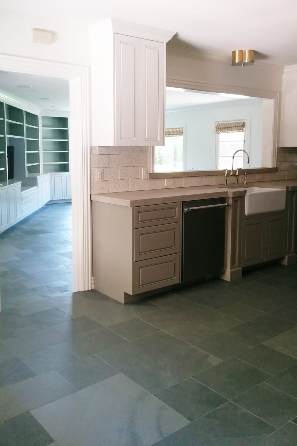 Slate floors with kitchen remodel. Neutral color palette. Jamie House Design