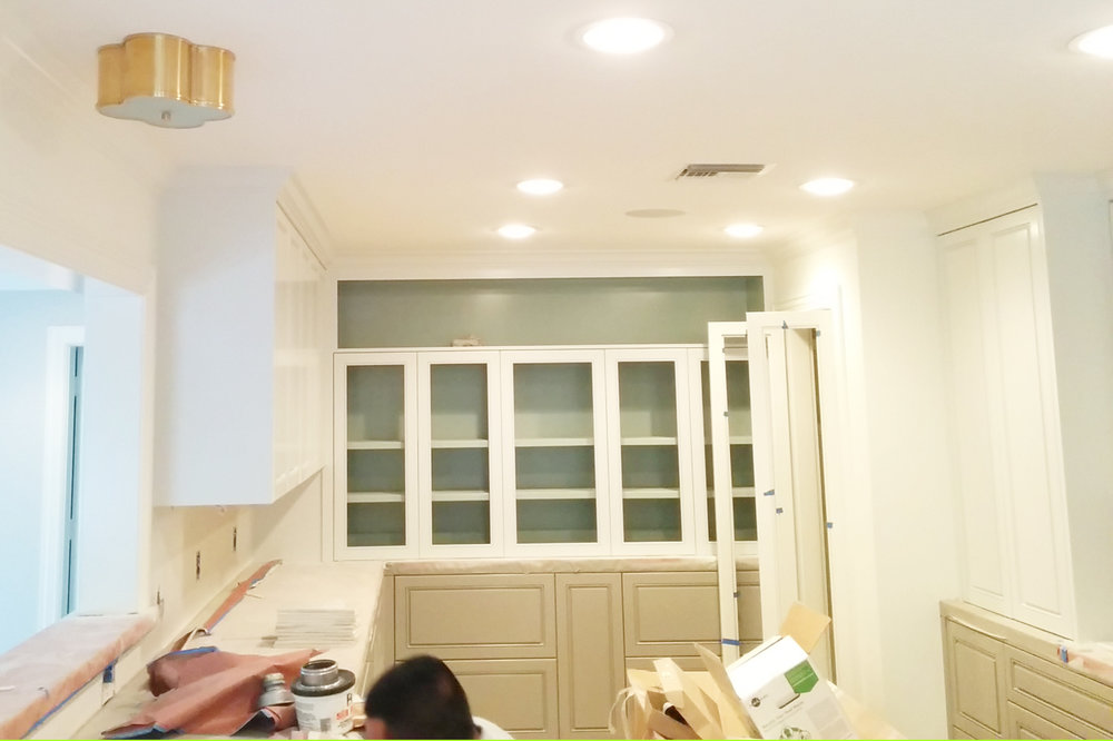 Jamie House Design kitchen remodel. Cabinet paint in progress.
