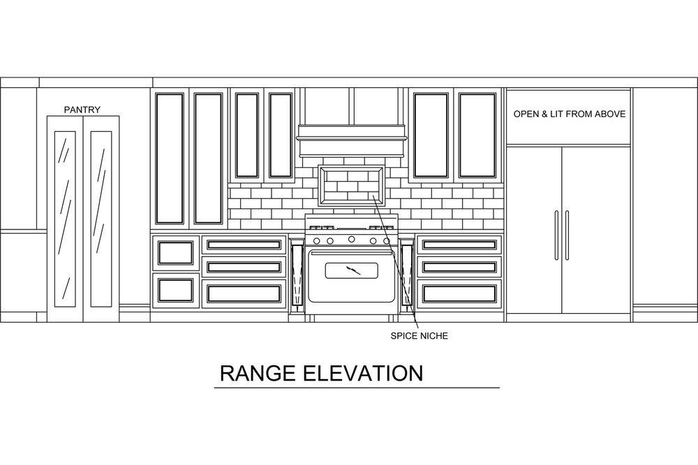 Jamie House Design drawing of the Range Elevation in a Houston kitchen remodel.