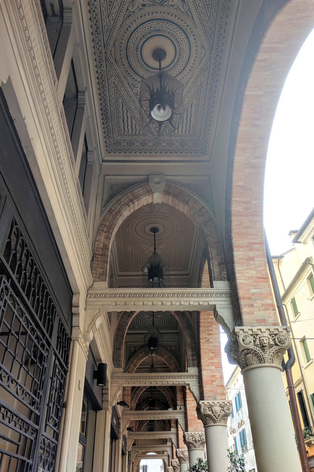 Architectural details and ornate ceiling in Treviso Italy. Image by Jamie House
