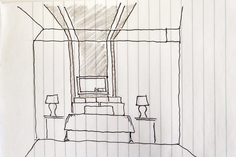Bedroom wall sketch illustrating paint concept for House Clicked by Jamie House Design