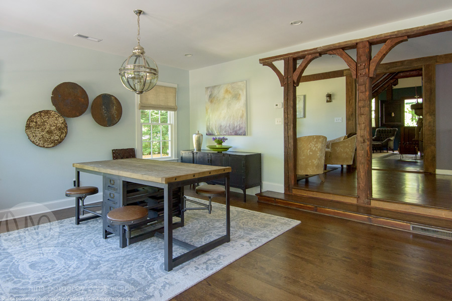 farm house beams arches living room antique historic ridgefield CT interiors photographer ninapomeroy.com