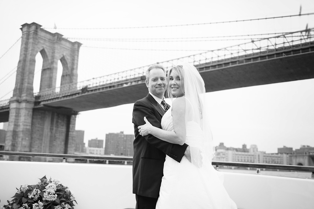 summer nyc yacht wedding bride groom brooklyn bridge nyc