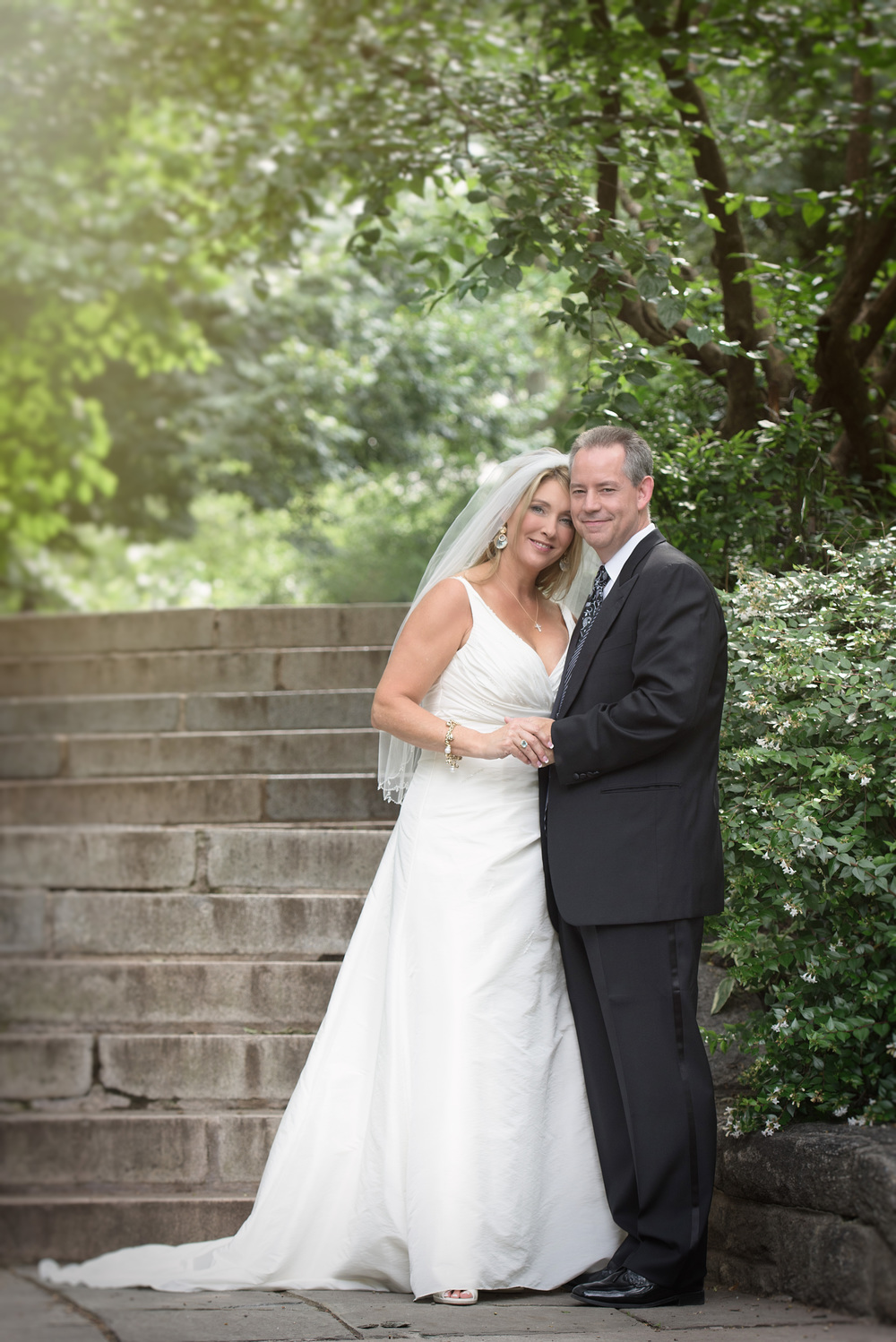 summer San Francisco park wedding bride and groom garden portrait