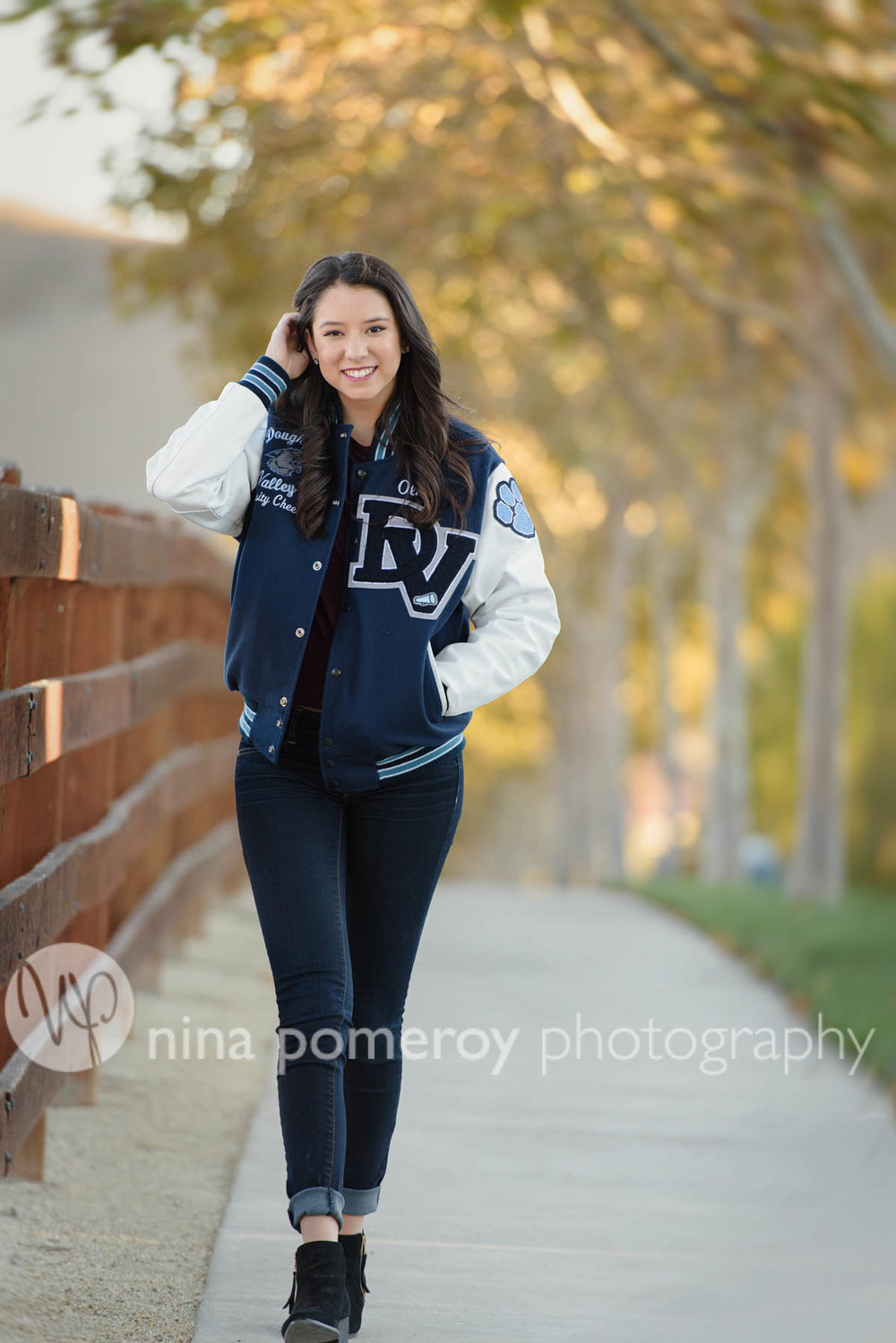 Girls' DVHS Cheer team jacket worn by senior in San Ramon CA by Nina Pomeroy