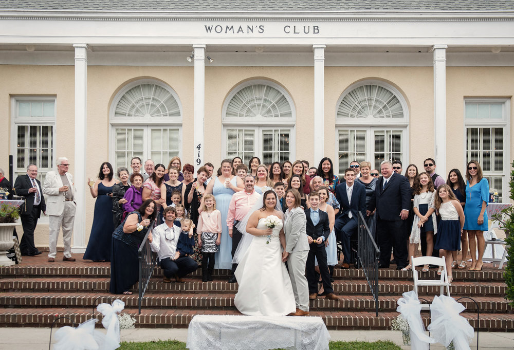 Outdoor Garden Lesbian Gay Wedding Ceremony Group Photo Womans Club Winter Park Orlando Florida