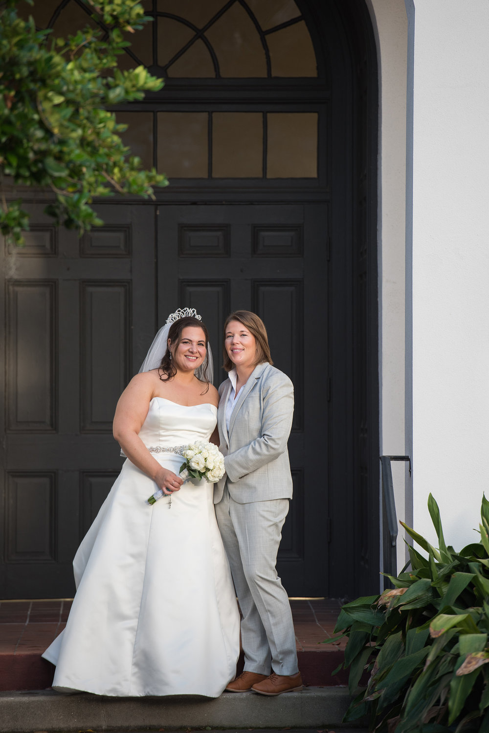 Outdoor Garden Lesbian Gay Wedding Portrait Winter Park Orlando Florida