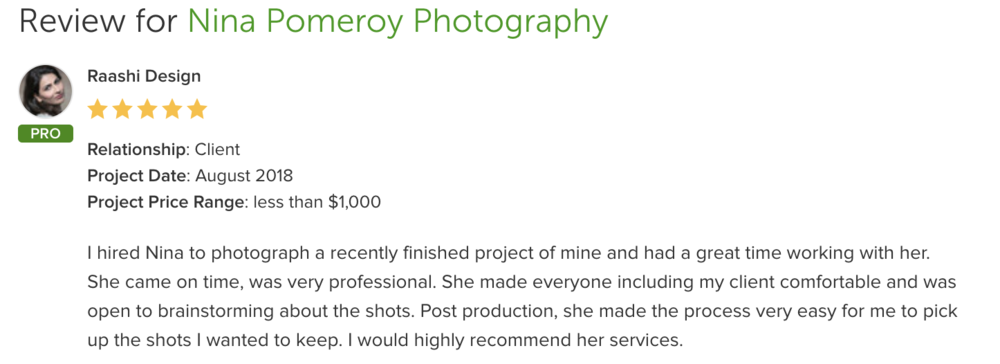 Houzz review for interiors photographer Nina Pomeroy
