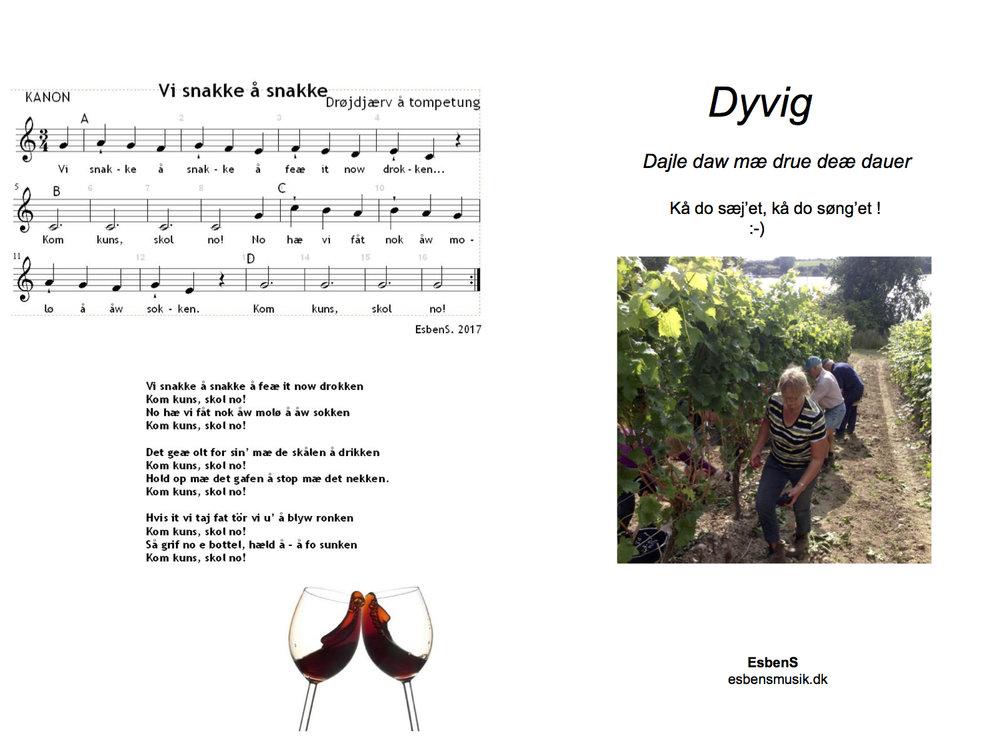 Side 1 og 4 af en lille folder til vinhøsten 2017 i Holm Vineri A/S, ved Dyvig på Als
