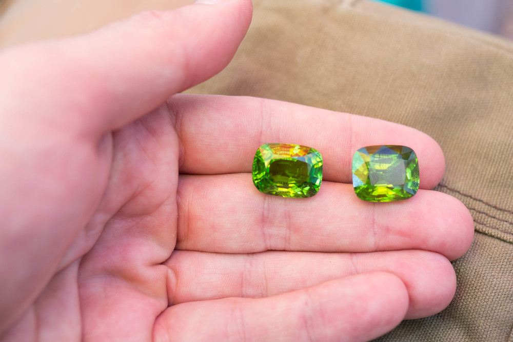 2 large and beautiful peridots.