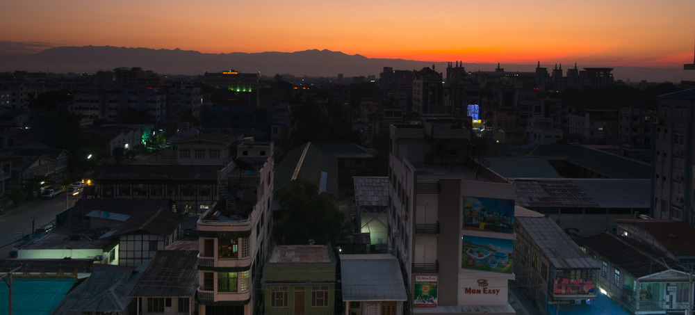 Sunrise over downtown Mandalay