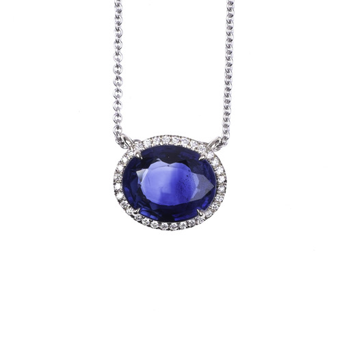 Sapphire and micro pave diamond pendant michael abraham gems sapphire and micro pave diamond pendant aloadofball Image collections
