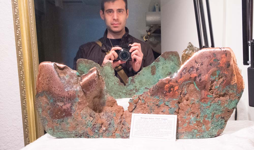 Here's me hiding behind a giant copper nugget.