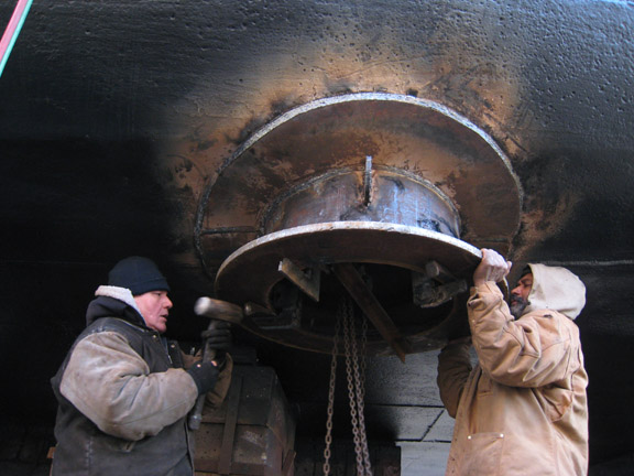 Finishing the bottom of a spudwell on the MARY A. WHALEN