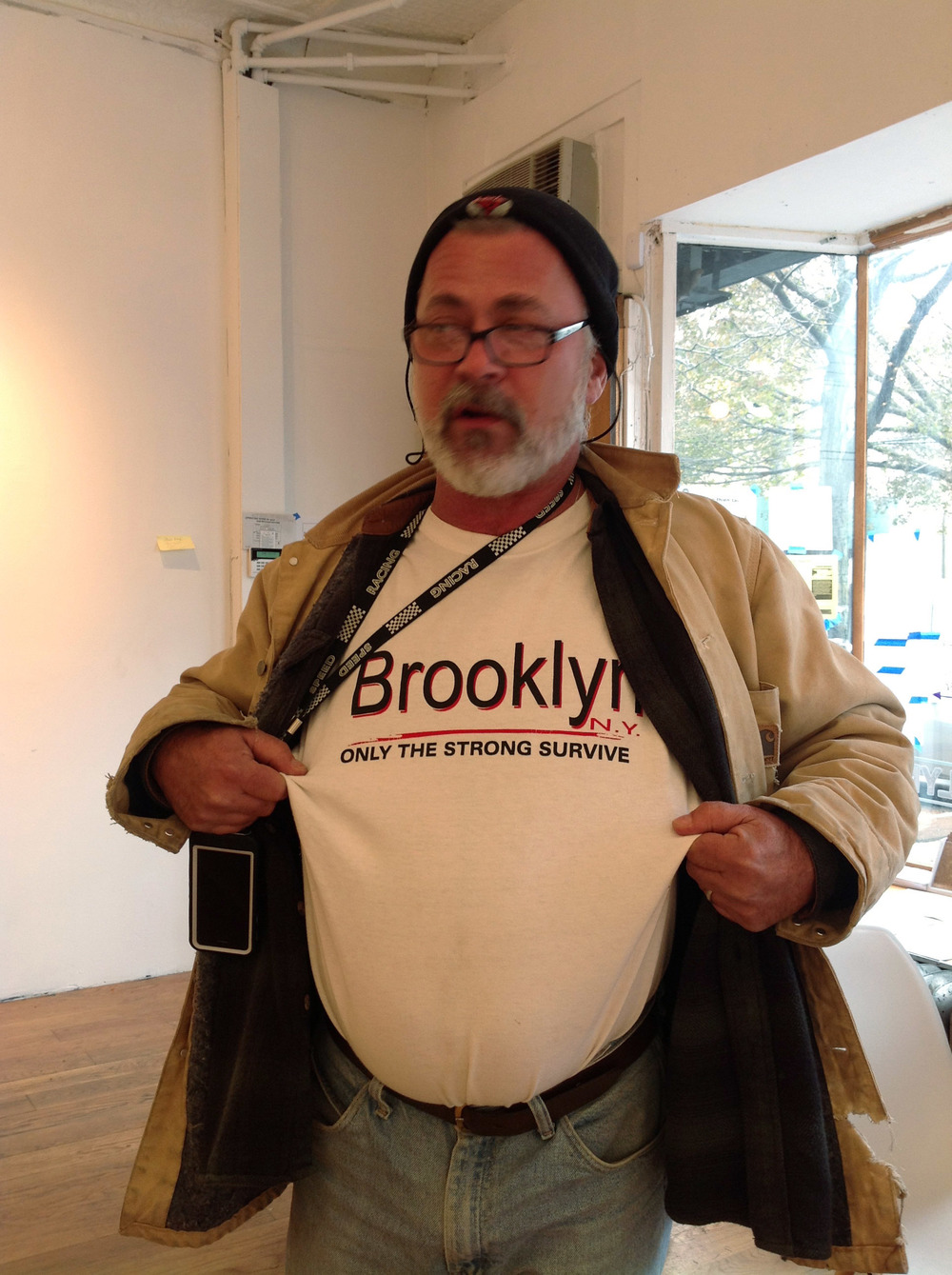 """Brooklyn, only the strrong survive"" on t-shir of Steve Tarpin of Steve's Key Lime Pie"