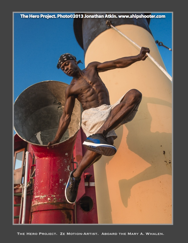 Hip Hop dancer Ze Motion as photographed near the stack of the MARY A. WHALEN by Jonathan Atkin