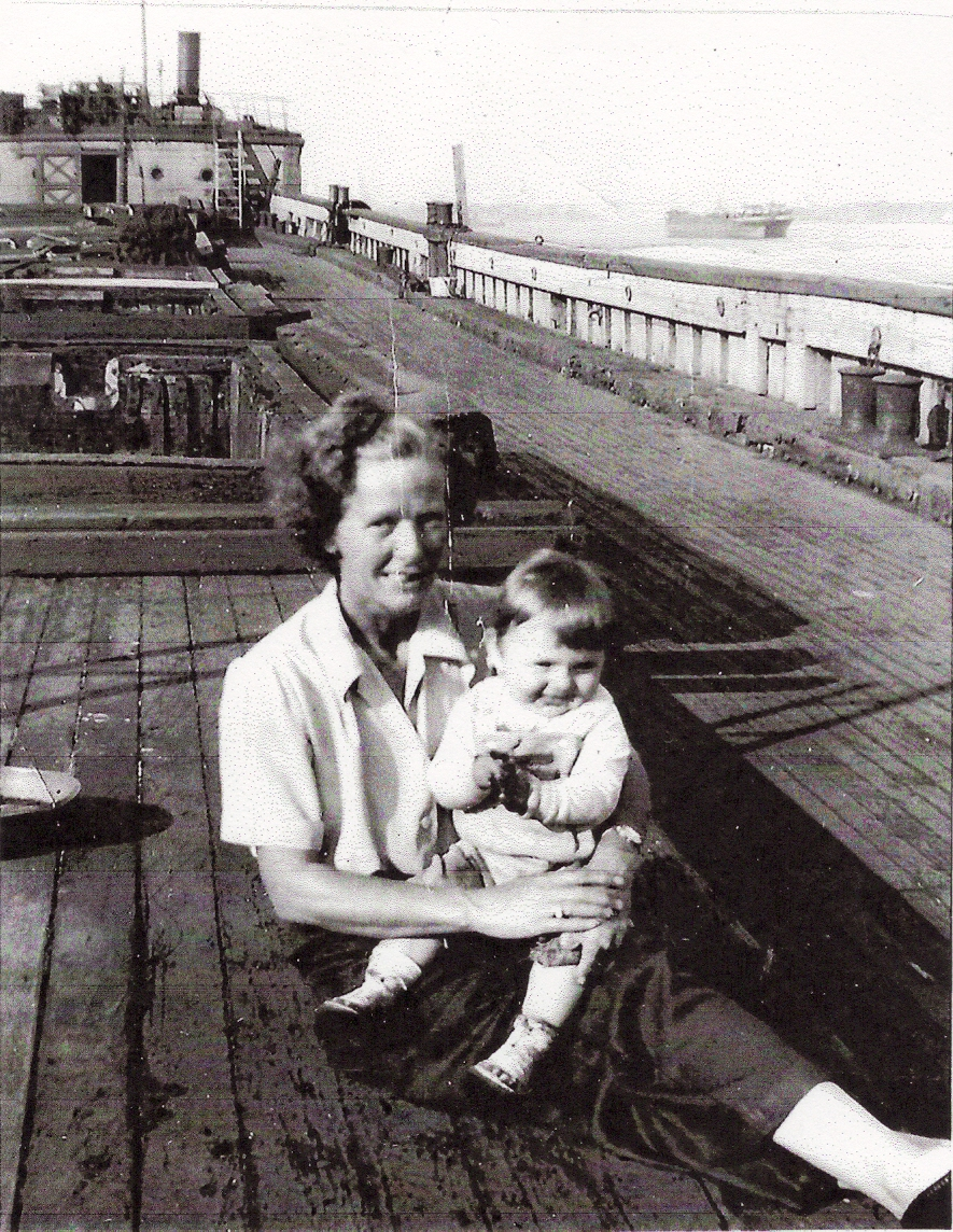 Don Horton's mother on a barge during WWII