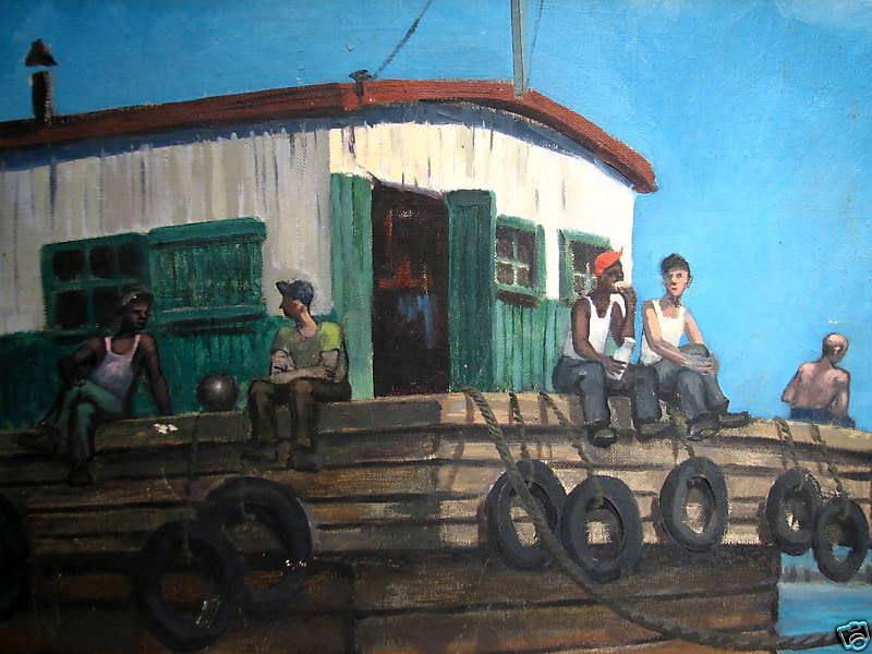 1950S PAINTING OF dockworkers HAVING A LUNCH BREAK.