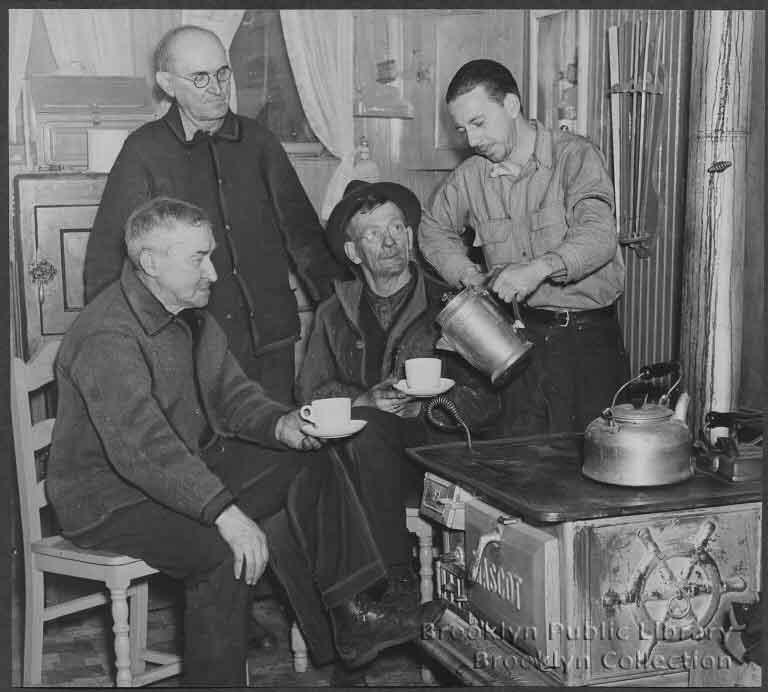 1937 Gowanus Barge men around stove.jpg