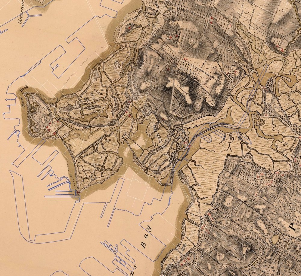 1782 Stevens HQ Map with street grid-more and bigger from pdf_Red Hook Crop.jpg