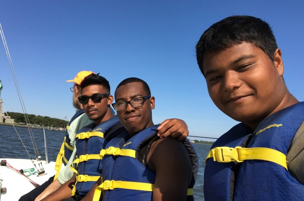 Our Historian and WHSAD interns Peter, Kenny, Jared, and Zunayed. Thanks to One 15 Brooklyn Marina for the sailing!