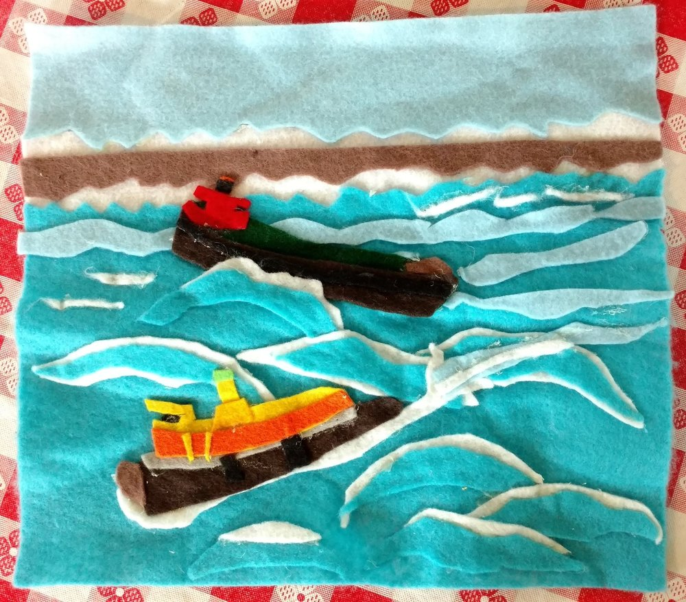 Felt art by Frank Hanavan. MARY A. WHALEN being rescued by tug Phoenix, based on a historic photo.