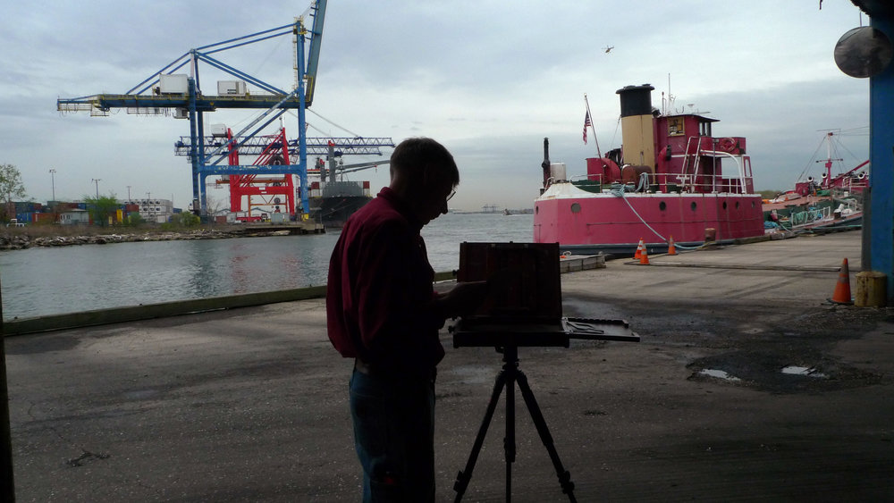 Jim Ebersole painting the MARY A. WHALEN when we were located in the Red Hook Container Terminal