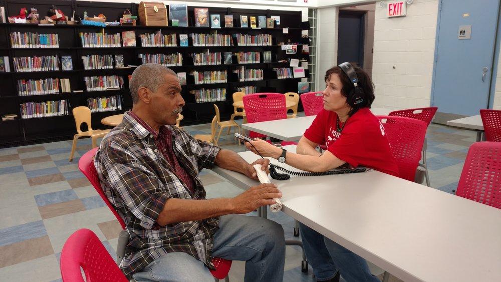 Jenny Kane recording an oral history for Red Hook WaterStories at our local library.