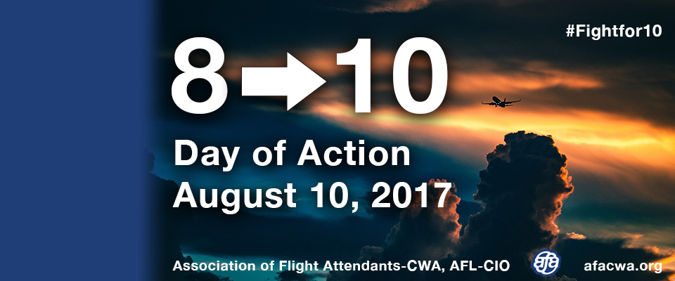 Storm the Airwaves on 8-10 Storm the Airwaves on 8-10: To keep the momentum going for 10 hours irreducible rest and protecting good U.S. aviation jobs, AFA is calling for an on-line Day of Action on August 10.