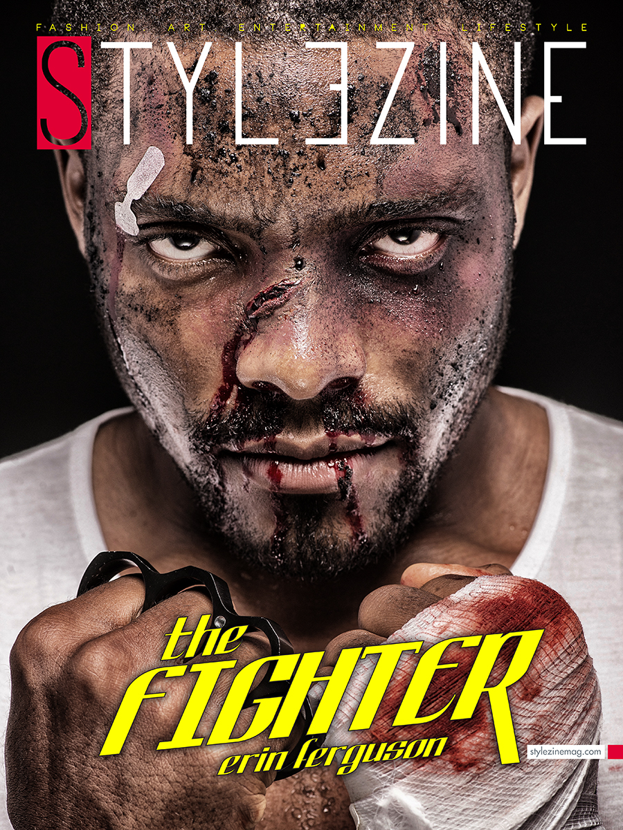"Official Aug/Sept cover The Fighter feat Erin A. Ferguson Host of ""Citizens Review"" Photographed by: ScharadL Photography Assisted by: Huden Johnson IIKenton Ferguson Makeup by: Deborah Daylight Thompson"