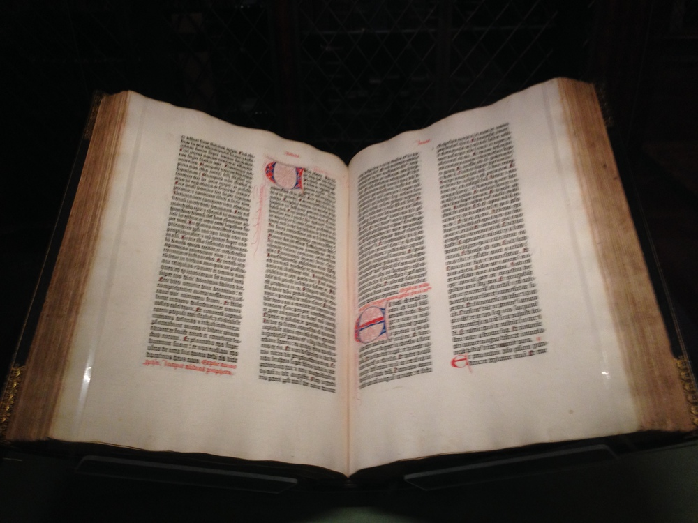 On Thursday, I went to the Morgan Library and Museum.  This is an original Gutenberg Bible people!!!