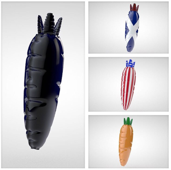 Playing around with the sculpting techniques from Greyscale Gorilla in C4D and made some balloon carrots! I've mainly stuck with hard surface modeling so this was a nice change and look forward to doing more.