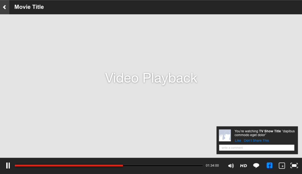 Wireframe layout showing movie playback