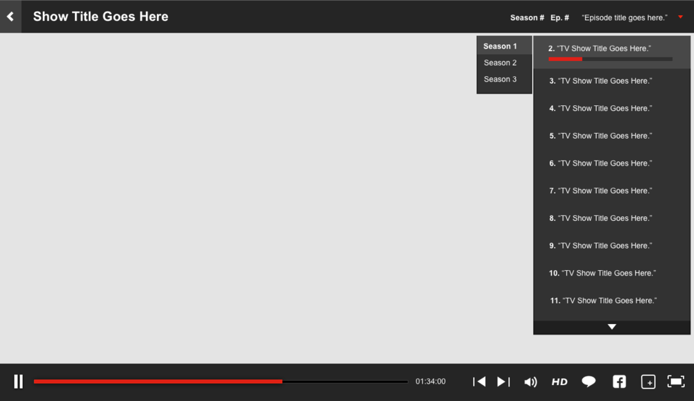 Wireframe layout showing serialized content playback w/ episode menu