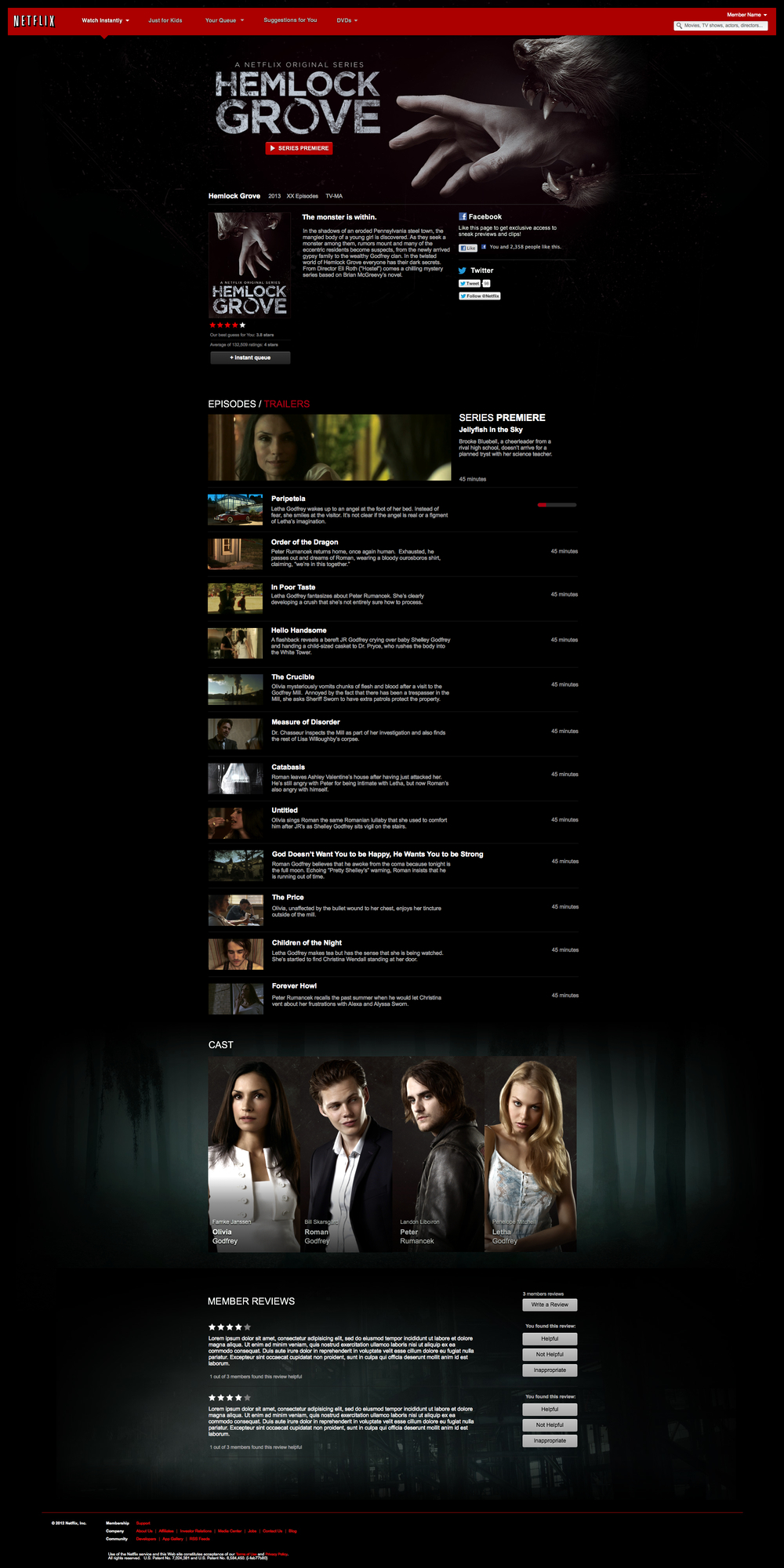 The Netflix.com experience for Hemlock Grove