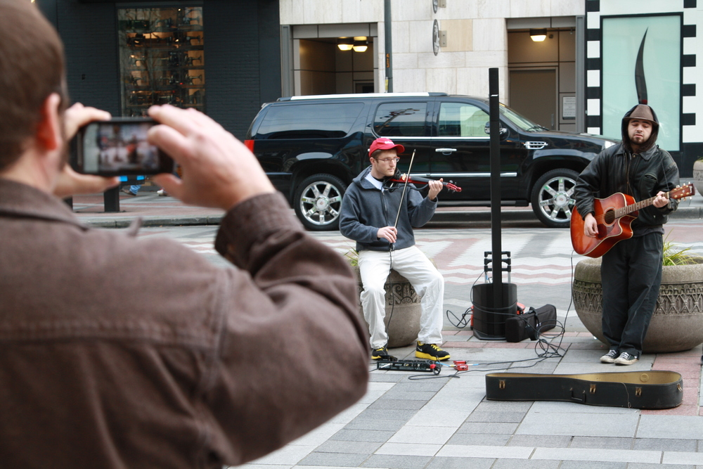 I met a singer named Nate in front of Westlake Mall, and we played together on both Friday and Saturday