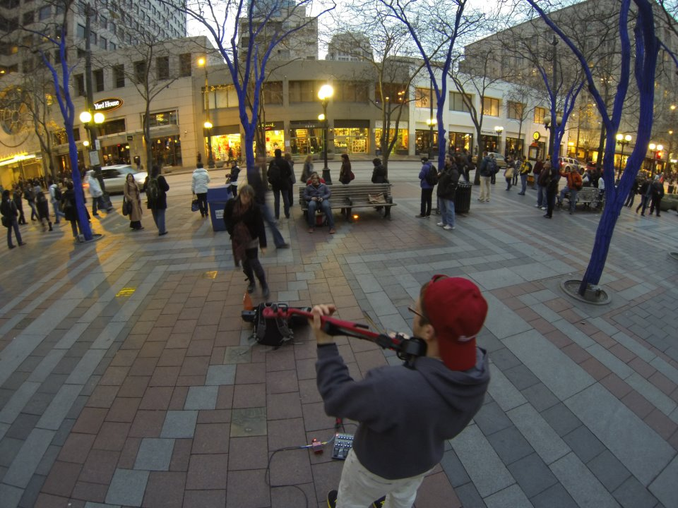 Busking at Westlake Park in downtown Seattle. Photo taken with GoPro Hero 3 Black Edition camera (click image for product info)