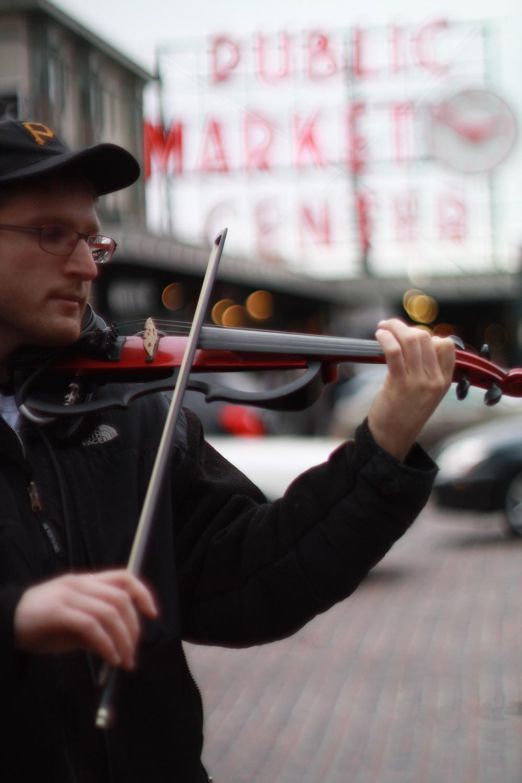 Busking near Pike Place Market in Seattle