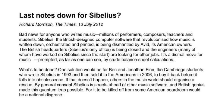 Is this the end of Sibelius? (via Save Sibelius)