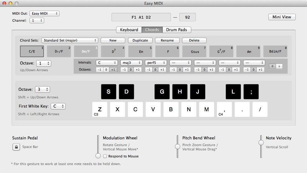 Easy MIDI Chords Tab