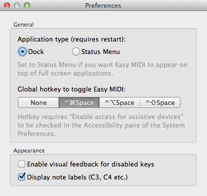 Easy MIDI Preferences