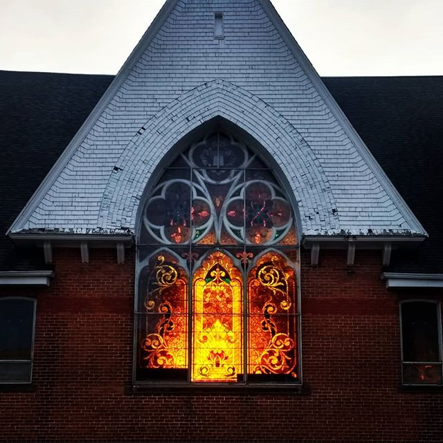 What a great view of the building next door! #everymorning #stainglass #church